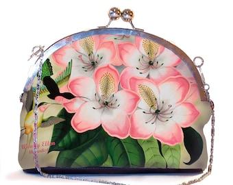 Retro cliptasje, Libre, clutch pistache roze, kerstcadeau, valentijngeschenk, geschenk moeder, bruidstasje, roze tas bloemen, kolibri,tropic