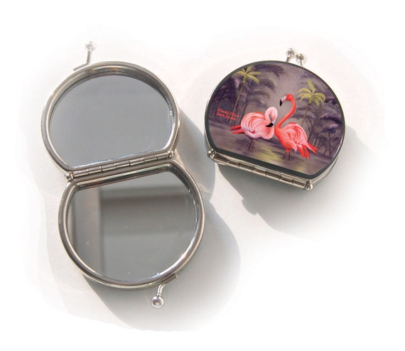 Retro mirror, Flamingo, gift for her, gift mom, Woody Ellen mirror, christmas, valentine gift, makeup mirror flamingo, orange beige