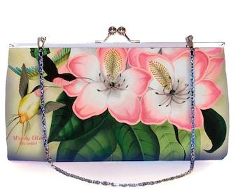 Retro clutch, Libre, kerstcadeau, valentijngeschenk, pistache, roze, geschenk moeder, Woody Ellen tas, bruidstasje, tas bloemenprint