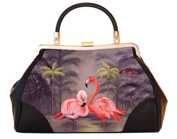 Retro handbag, Vintage handbag, Flamingo , gift for her, gift for mom, Woody Ellen handbag, christmas gift, Valentine ideas, orange-beige