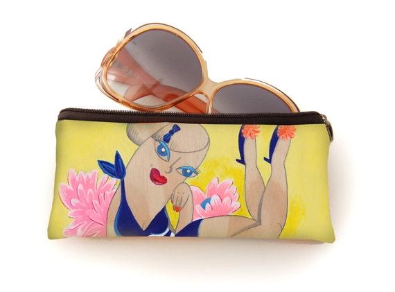 Pencil bag, glasses pouch, blossom, blue, bird,  print