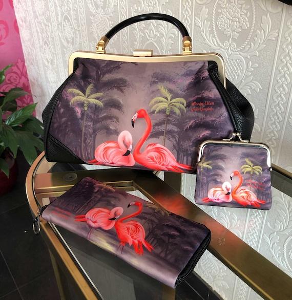 Retro handbag set of 3, vintage handbag set, Flamingo bag, christmas, gift, gift for her, Woody Ellen bag, rockabilly bag, valentine gift