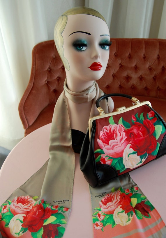 Handbag + Silk Scarf, 100% silk scarf,Red Paris bag,christmas,gift for her,gift for mom,Woody Ellen,christmas gifts,christmas gift ideas