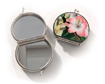 spiegeltje, Libre, kerstcadeau, valentijn, verjaardagscadeau, geschenk voor mama, Woody Ellen spiegel, make up spiegel bloemen roze pistache