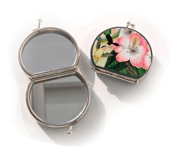 Retro mirror, Libre, gift for her, gift mom, Woody Ellen mirror, christmas gift, valentine gift, makeup mirror flower kolibri, pink pistache