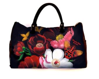 Reistas, weekendtas, Glorious, kerstcadeau, verjaardagsgeschenk, geschenk moeder, Woody Ellen reistas, weekender, bloemen tas, geschenk haar