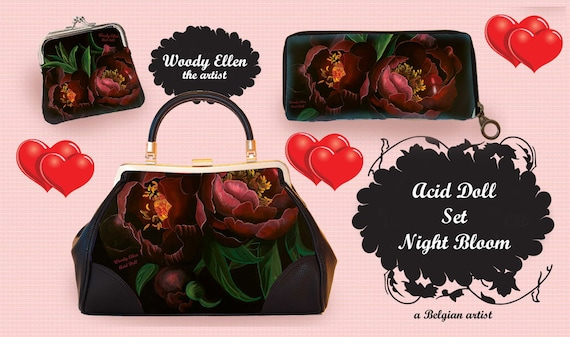 Retro handbag set, vintage handbag set, Night Bloom, christmas, gift, gift for her, Woody Ellen bag, christmas gift ideas, valentine gift