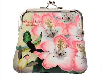 Retro portemonnee, Libre , kerstcadeau, geschenk voor haar, verjaardagscadeau, geschenk mama, valentijn, Woody Ellen, roze pistache, kolibri