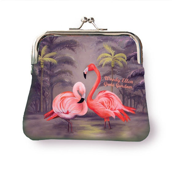 Coin purse, retro purse, Flamingo, gifts for her, gift for mom, purse pink pistache, christmas gift, valentine gift ideas, birthday