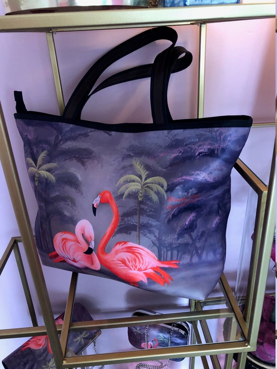 Retro shopper, Flamingo, birthday gift, gift for her, gift for mom, Woody Ellen bag, christmas  gifts,christmas gift ideas, mothers day gift