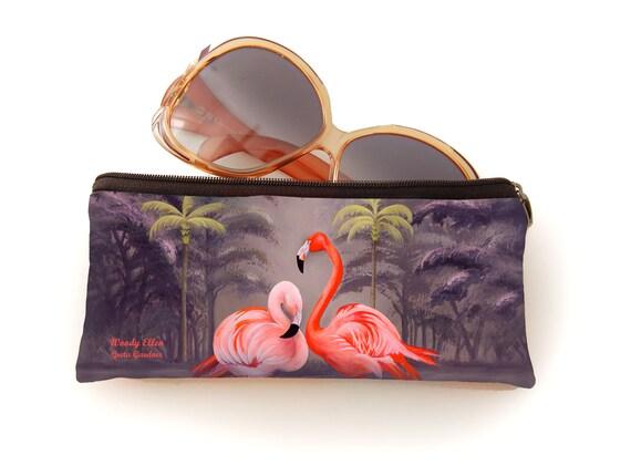 Retro pencil bag, vintage pencil bag, Flamingo, orange, gift for her, gift mom, make-up bag, christmas gift,valentine gift ideas