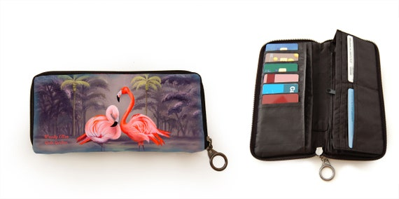 Retro wallet, vintage wallet, Flamingo, palmtrees, tropical, jungle, gift for her, gift mom, valentine gift,christmas gift idea,orange,beige