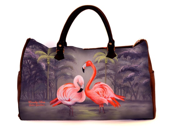 Travel bag, Flamingo, weekend bag, birthday gift, gift for her, gifts for mom,Woody Ellen travel bag, christmas gift, gifts, tropical