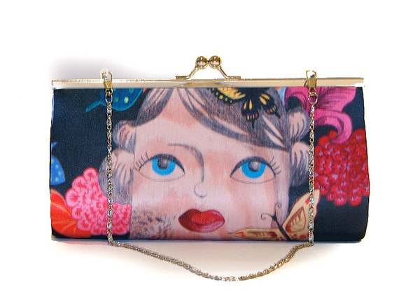 Retro clutch, 'Thoughts',  illustrated, butterfly flower theme, retro, rockabilly, pinup