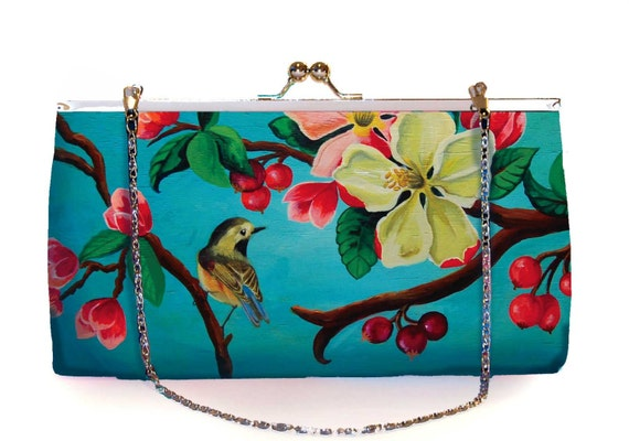 Retro clutch, clutchbag, Blossom, birthday gift, gift for her, gift mom, Woody Ellen bag,christmas gifts,christmas gift ideas,valentine gift