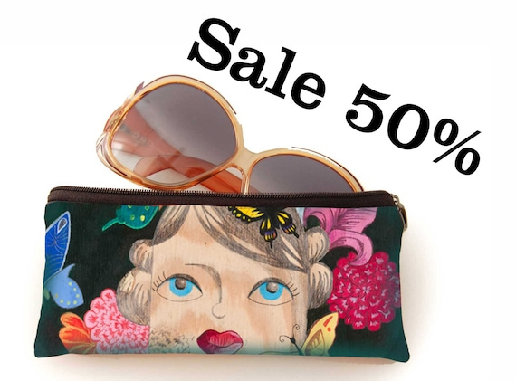 Pencil bag, Thoughts',  illustrated, butterfly flower theme, retro, rockabilly, pinup