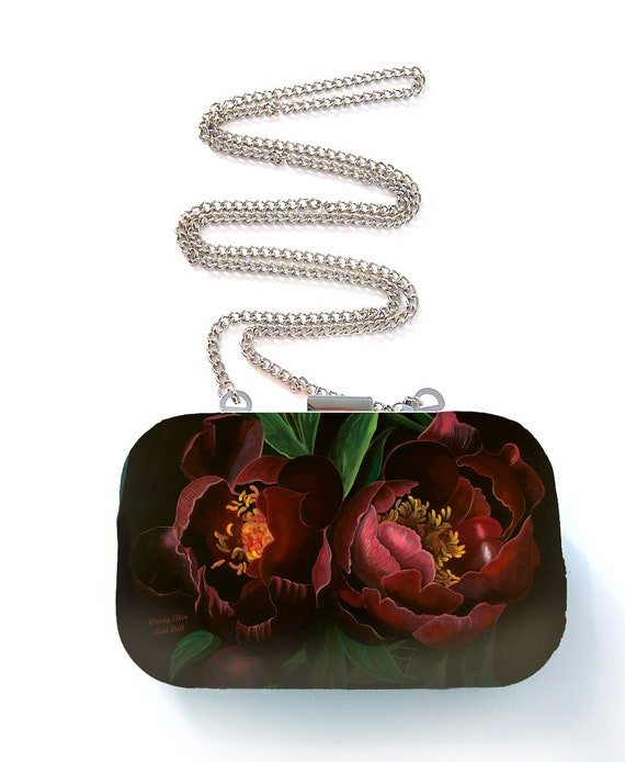 Box purse, box clutch, Night Bloom, flower gift, gift for her, gift for mom, Woody Ellen handbag, christmas gift, christmas gift ideas