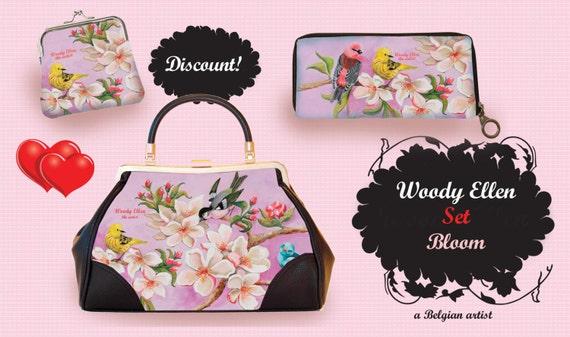 retro handbag set, vintage handbag set,Bloom,christmas,gifts,gifts for her,Woody Ellen handbag,christmas gifts,christmas gift ideas