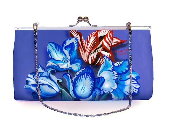 Retro clutch large, clutch bag, Porcelain, birthday gift, gift for her, gift for mom, Woody Ellen handbag,christmas gift ideas