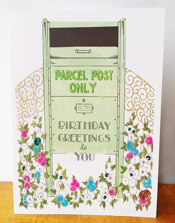 Birthday Card With Old Fashioned Mailbox Etsy