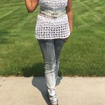 Crochet Overly Top with Side Slits