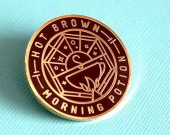 """Hot Brown Morning Potion Enamel Pin - 1.25 x 1.25"""""""