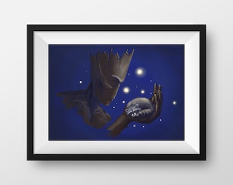 Groot and Rocket - 8 x 12 Print