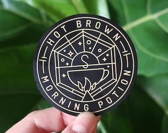 "Hot Brown Morning Potion Sticker - 2.5 x 2.5"""