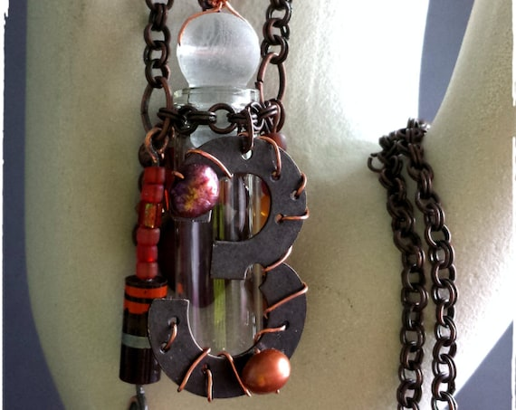 Lucky #3, Steampunk Scent Necklace, Industrial Chic Jewelry in Shades of Copper, a Mixed Media Pendant, with Recycled & Vintage Materials
