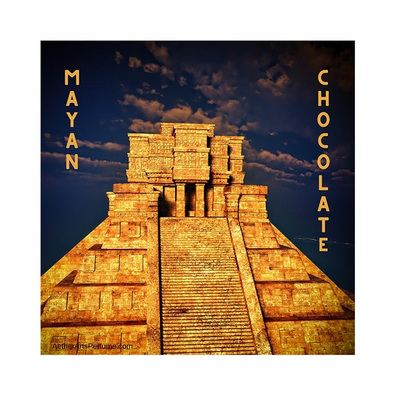 Mayan Chocolate, an Exotic, Spicy, Green, Chocolate Perfume inspired by the Jungles of Mesoamerica where the Cacoa Tree grows.