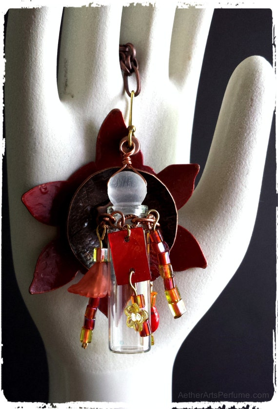 Sunset Flower: a Steampunk Scent Necklace in copper and red, Mixed-Media, Industrial Chic