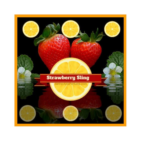 Strawberry Sling a Berry Perfume based on a cocktail! Fresh, Effervescent, Unisex, Eau de Cologne, Scent with Strawberry, Lemon, & Rosemary