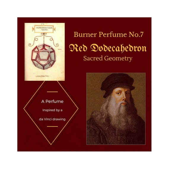 Burner Perfume No. 7 Red Dodecahedron: Sacred Geometry. Perfume based on a Da Vinci drawing Fruity/Oriental scent with Apple+Spice notes