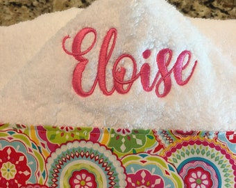 personalised embroidered hooded towel White Pink Yellow Blue  Baby Shower gift
