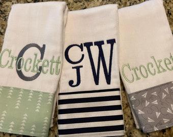 burp cloths for boys--set of 3, monogrammed burp cloth, personalized burp cloth for boys
