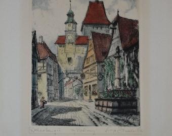 Rothenburg O.T. Germany Framed Radierung Heiner Krasser Original Etching Vintage