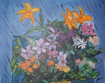 vintage flower oil painting day Lilly mixed flowers signed
