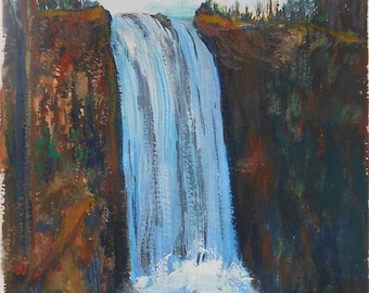 vintage watercolor of waterfall landscape signed