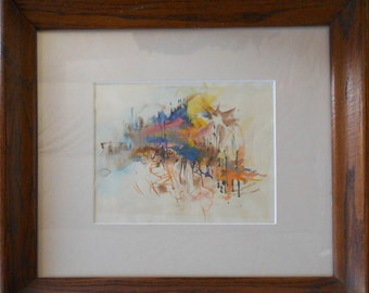 vintage watercolor french ocean scene titled the sea in french