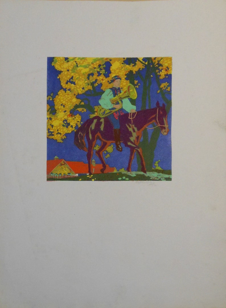 vintage color wood block horse and rider 1944 signed