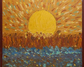 vintage Maine oil painting sunset over field signed and titled