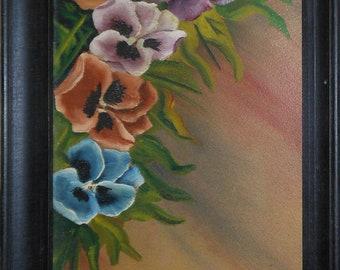 vintage oil painting of pansies signed