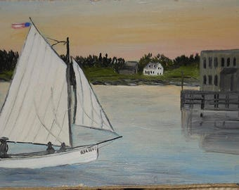 vintage Greenville Maine oil painting of sail boat lake buildings ca.1900 signed