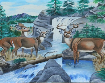 vintage oil painting deer in landscape Maine signed