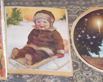 five vintage color lithographs from old scrap book