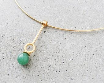 Gemstone Drop Choker Necklace / Multi-way / lapis lazuli, malachite, or aventurine / 14k gold vermeil