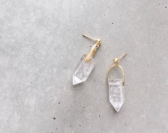 Crystal Arch Earrings / clear quartz point ball post earrings / gold fill or sterling silver / ball post or hook