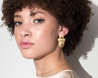 Shapes Earrings / architectural gold arch statement earrings