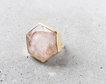Rose Quartz Hexagon Statement Ring / blush pink geometric 14k gold vermeil cocktail ring / gift for her