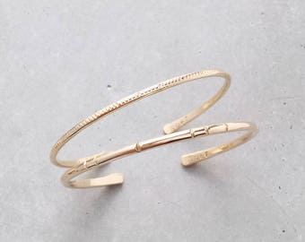 Notch + Forge Cuff Set / Mixed Layering Bangle Bracelets / 14k rose or yellow gold filled